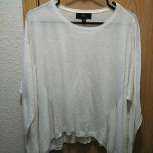 Mossimo Long Sleeve White Shirt Top Asymmetrical